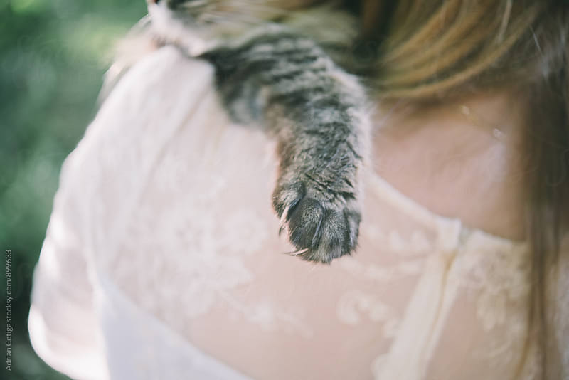 Cat paw over woman's shoulder by Adrian Cotiga for Stocksy United