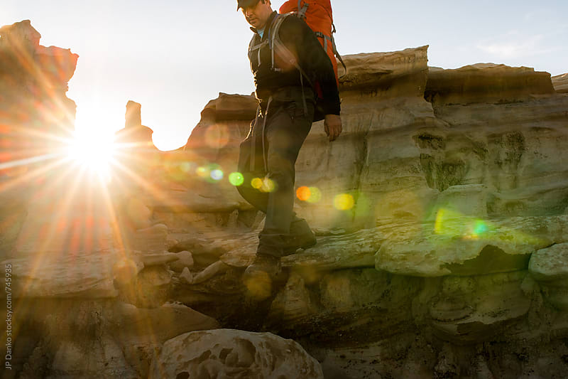 Hiking in Bisti Badlands Wilderness Area New Mexico at Sunrise by JP Danko for Stocksy United