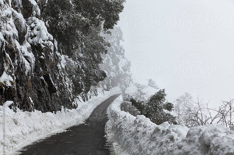 Mountain road with snow and mist by Marilar Irastorza for Stocksy United