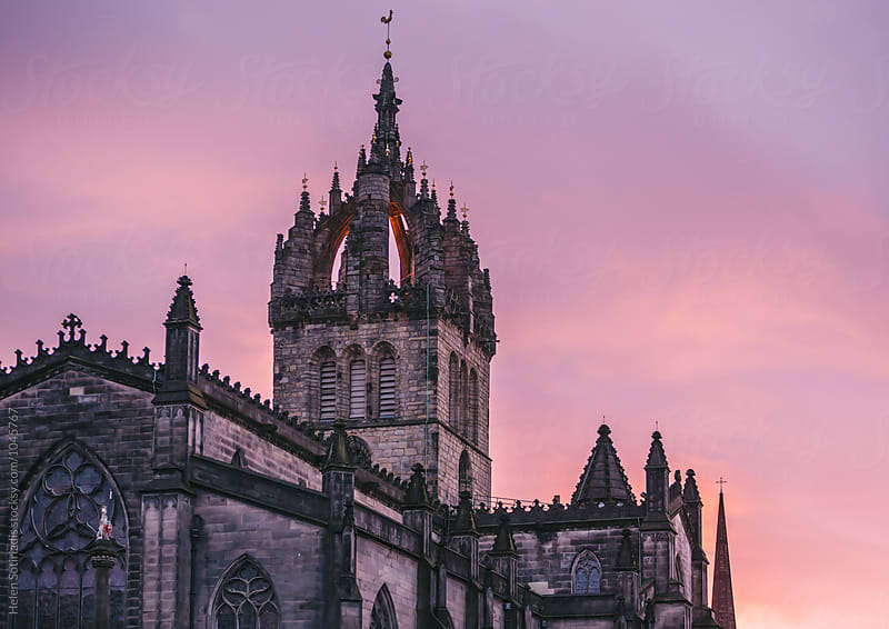 St. Giles' Cathedral, Edinburgh, against Sunset Colors by Helen Sotiriadis for Stocksy United