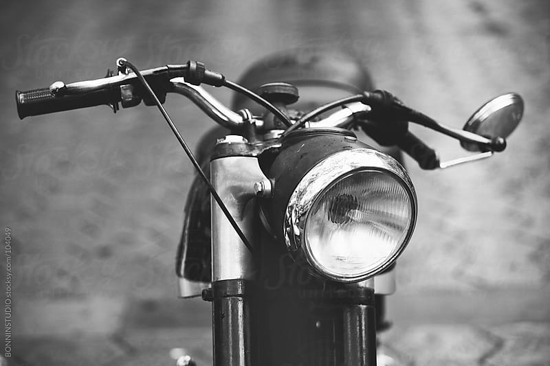 Vintage motorcycle on street. Made in Catalunya. by BONNINSTUDIO for Stocksy United