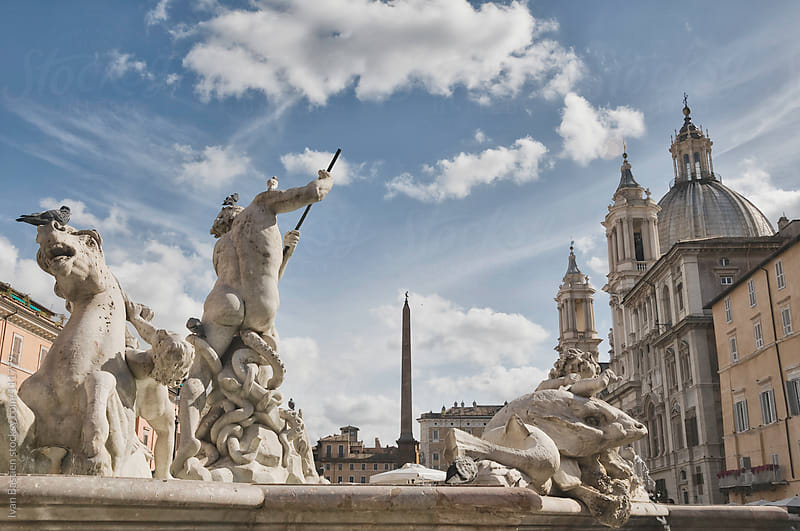 Neptune fountain on Piazza Navona in Rome, Italy by Ivan Bastien for Stocksy United