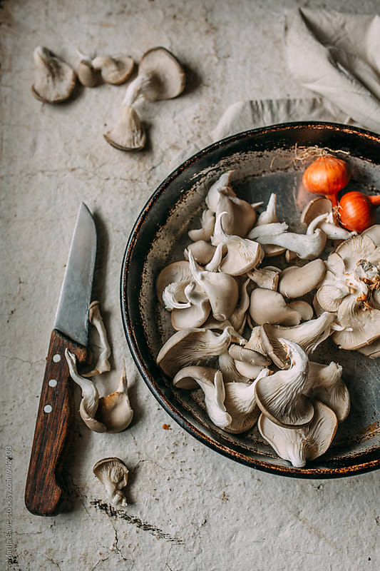 Oyster mushrooms ready for frying   by Marija Savic for Stocksy United