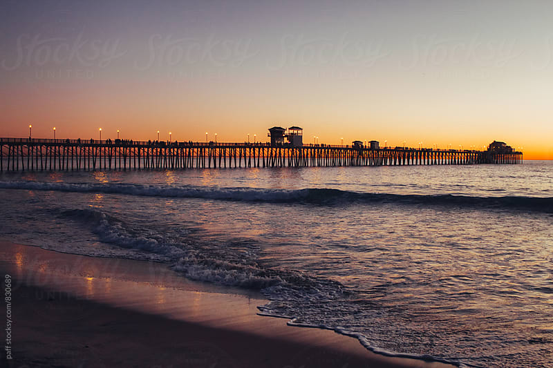 Oceanside pier in California at sunset by paff for Stocksy United