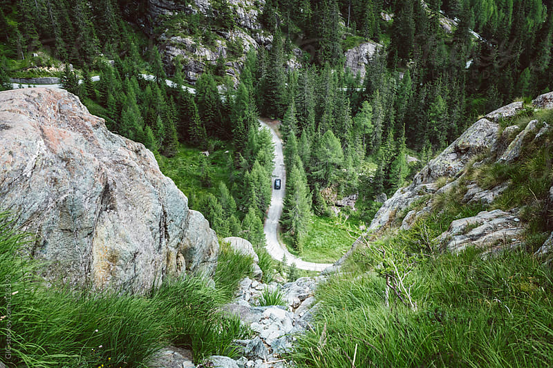 Mountain road with car from above by GIC for Stocksy United