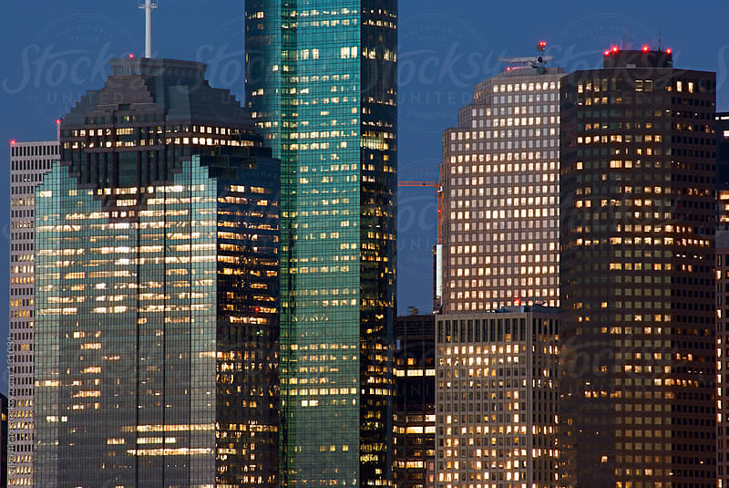 Office buildings at downtown Houston at night by yuko hirao for Stocksy United