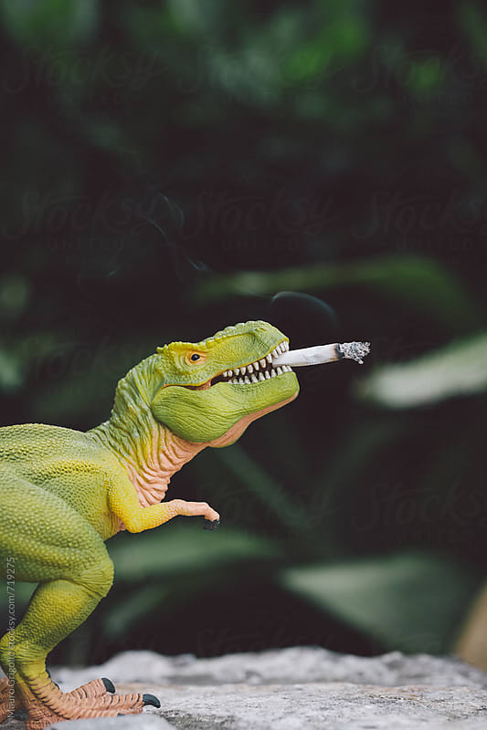 dinosaur smoking a cigarette by Mauro Grigollo for Stocksy United
