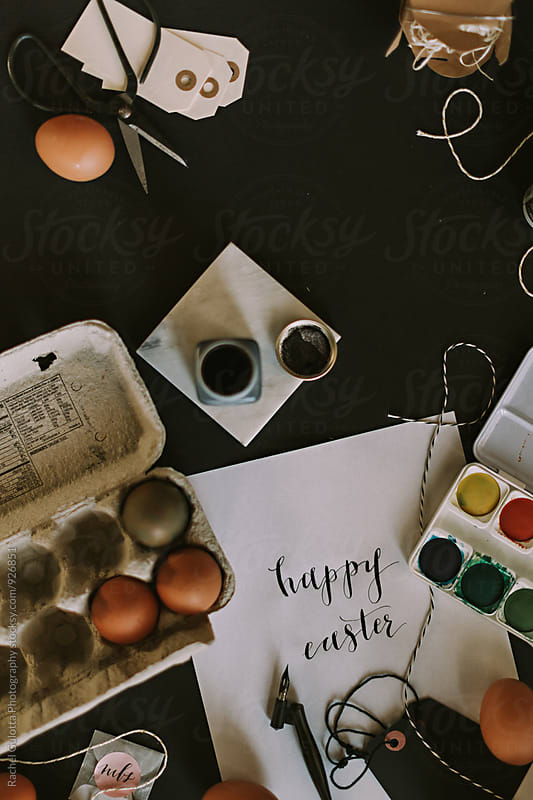 Happy Easter Written in Calligraphy by Rachel Gulotta Photography for Stocksy United