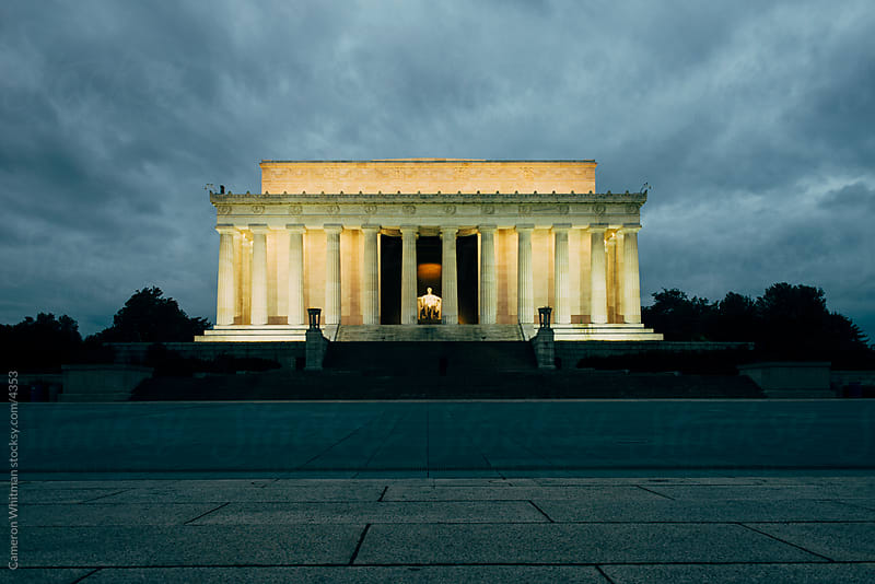 Moody Stock Photo Of The Lincoln Memorial At Dusk by Cameron Whitman for Stocksy United