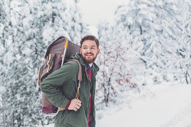 Happy Hiker With a Backpack by Lumina for Stocksy United