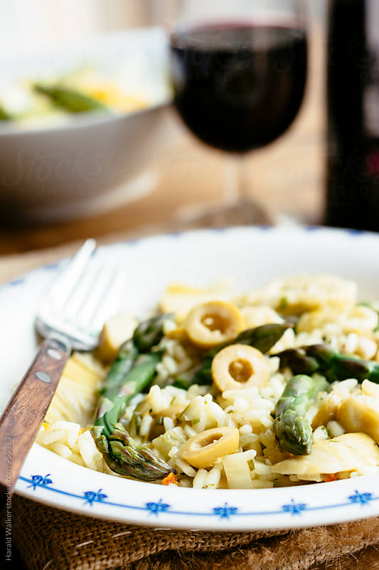 Asparagus, Artichoke, Green Olive Risotto by Harald Walker for Stocksy United