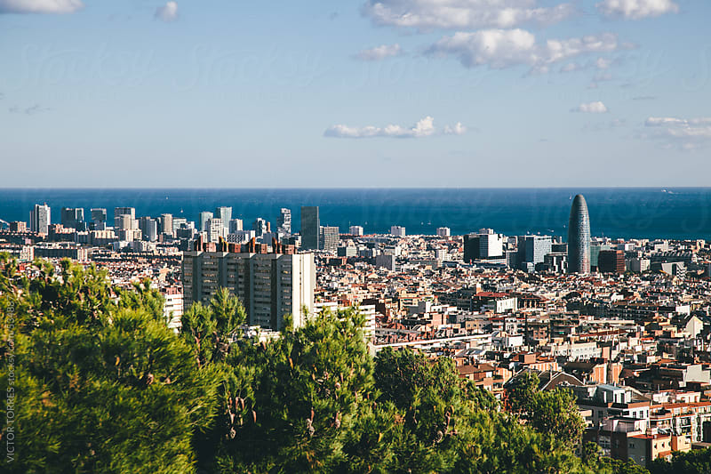 Barcelona Skyline with Mediterranean Sea by VICTOR TORRES for Stocksy United