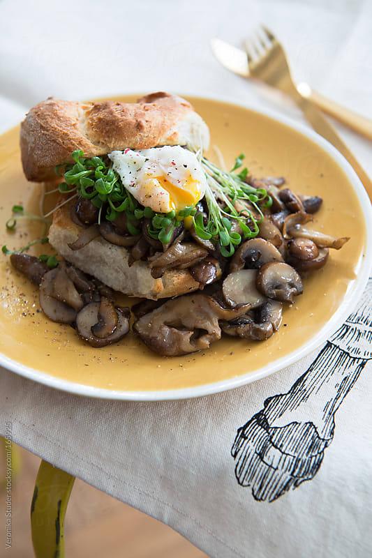 Mushroom sandwich with egg by Veronika Studer for Stocksy United