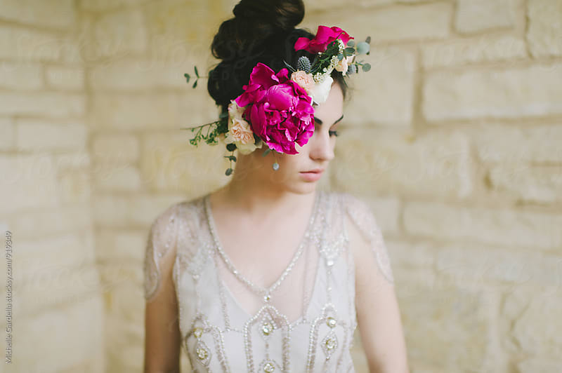 Woman with Flower Crown by Michelle Gardella for Stocksy United