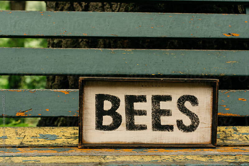 Bees sign on a bench by Gabriel (Gabi) Bucataru for Stocksy United