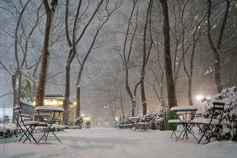 New York Winter: Snowy Park at Night by Vivienne Gucwa for Stocksy United