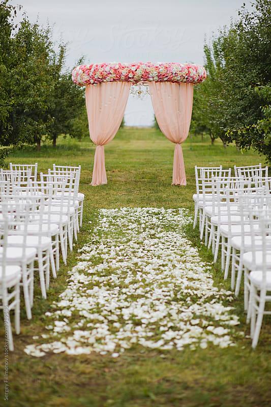 Wedding ceremony decoration by Sergey Filimonov for Stocksy United