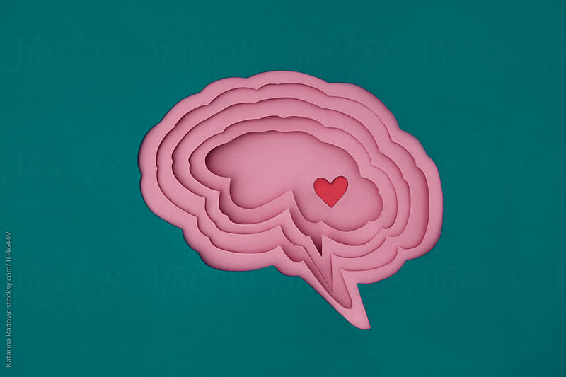 Paper Brain and Red Heart Inside of It by Katarina Radovic for Stocksy United
