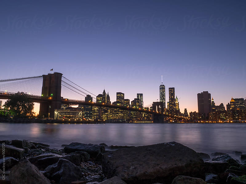 Manhattan skyline by night by GIC for Stocksy United