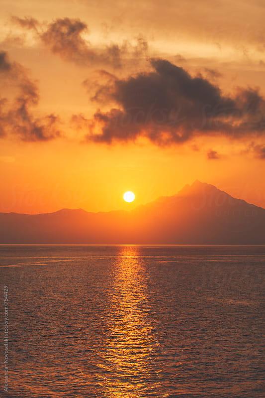 Beautiful sunrise above Athos by Aleksandar Novoselski for Stocksy United