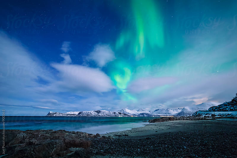 Northern lights on a Norwegian fjord by Juri Pozzi for Stocksy United