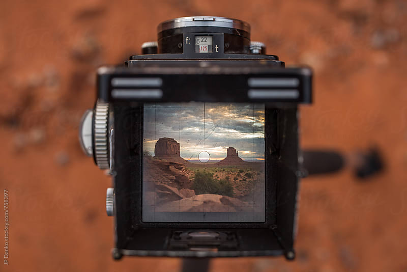 Sunrise Over Monument Valley Utah USA Through Viewfinder of Vintage TLR Film Camera by JP Danko for Stocksy United