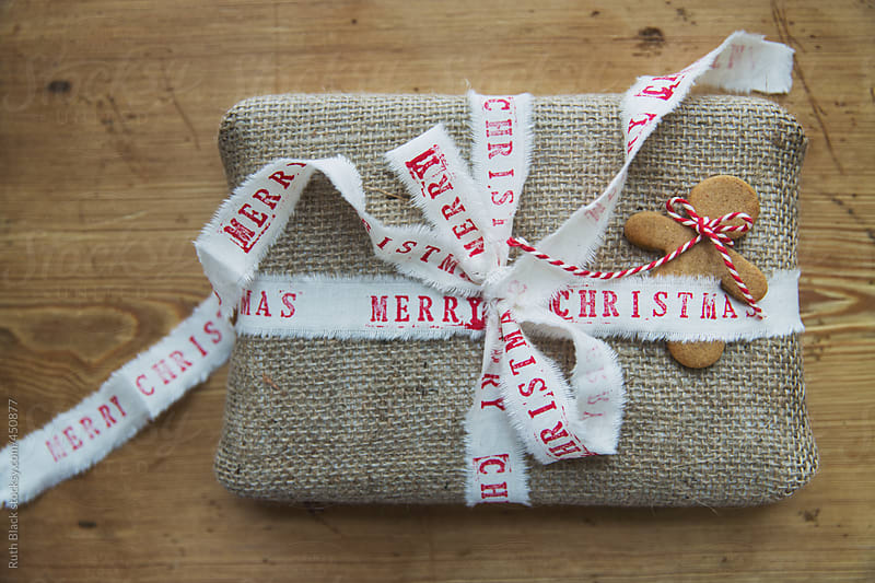 christmas gift with handmade wrapping by ruth black