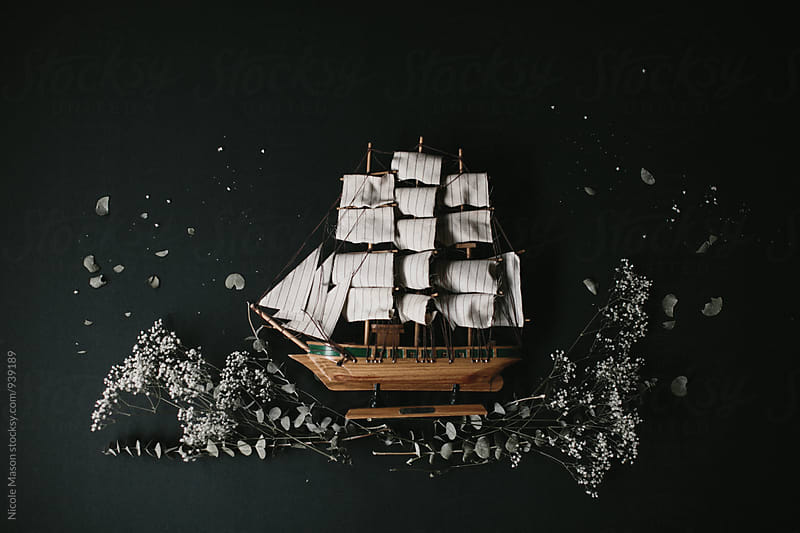 model sailboat with dried plants around it by Nicole Mason for Stocksy United