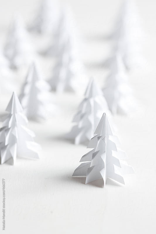Origami christmas trees by Nataša Mandić for Stocksy United