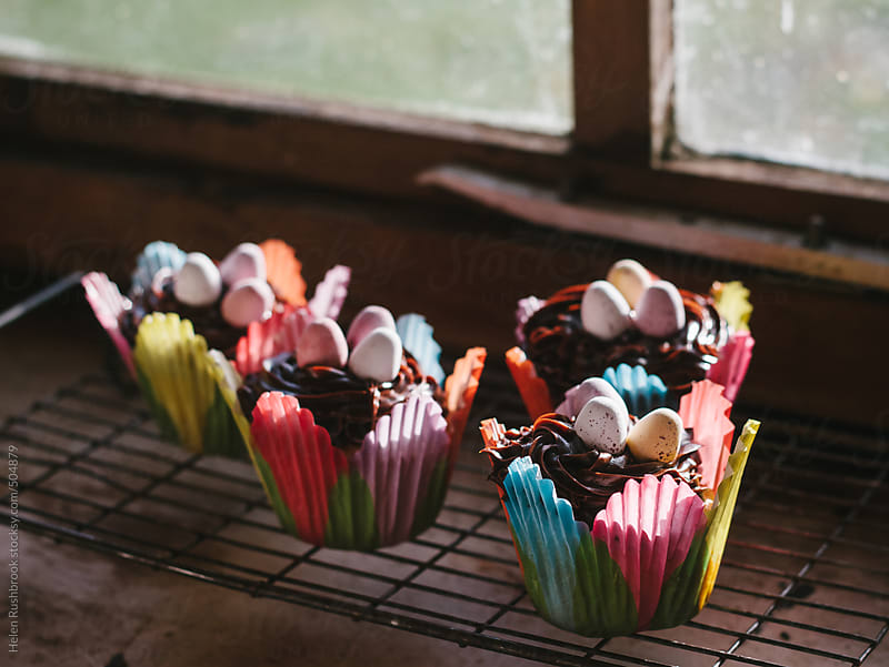 Easter cupcakes in front of a sunny window. by Helen Rushbrook for Stocksy United