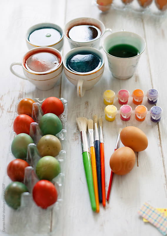 Easter egg coloring.  by Darren Muir for Stocksy United