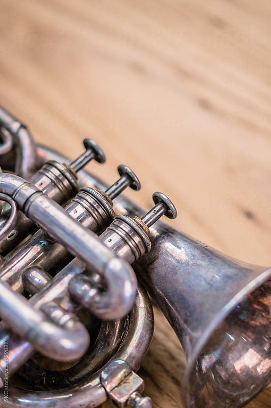 Close up of Antique Pocket Trumpet by suzanne clements for Stocksy United