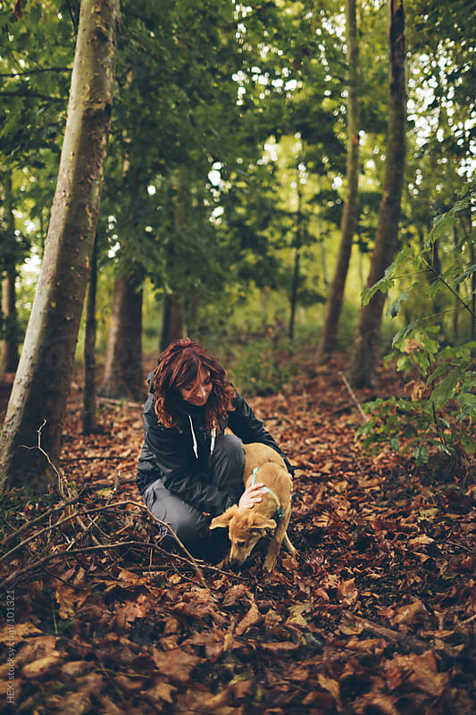 Woman Outdoor with Her Dog by HEX. for Stocksy United