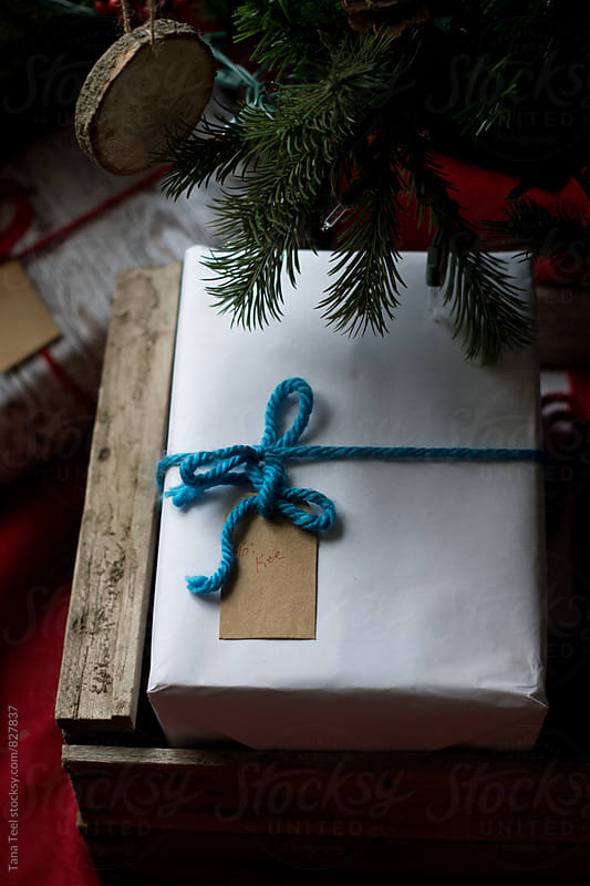 Christmas present in white paper under tree by Tana Teel for Stocksy United