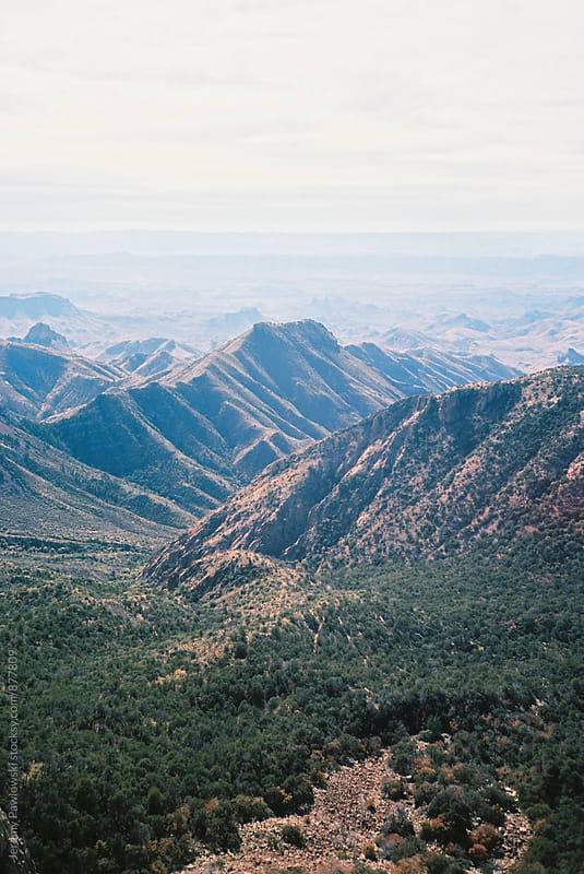 Mountain landscape from above. 35mm film scan. by Jeremy Pawlowski for Stocksy United
