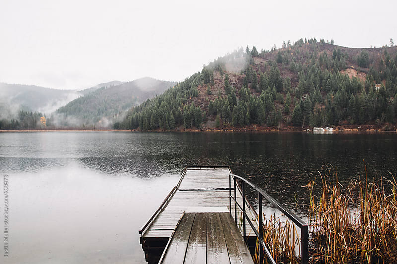 Wooden dock on Freeman Lake, Idaho by Justin Mullet for Stocksy United
