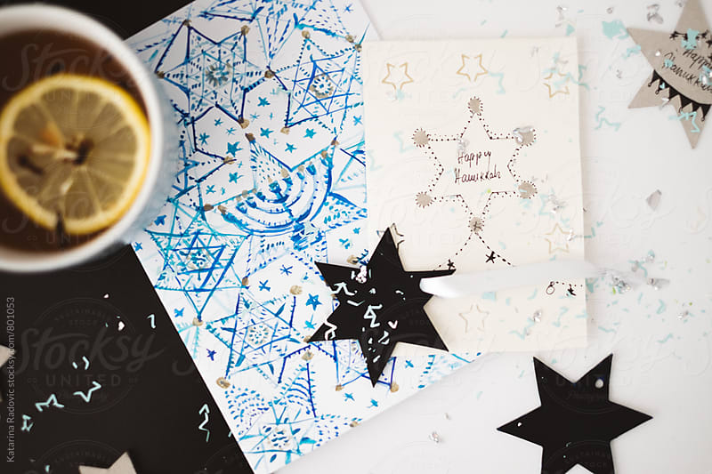 Hanukkah Cards and Ornament Stars with a Cup of Tea by Katarina Radovic for Stocksy United