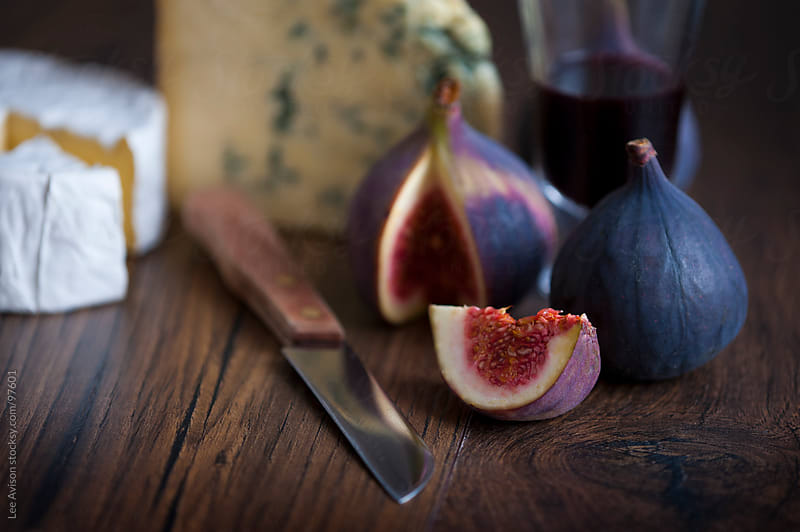 figs and cheeses with port by Lee Avison for Stocksy United