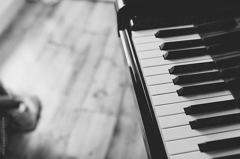Black and White Piano Instrument Background by HEX. for Stocksy United