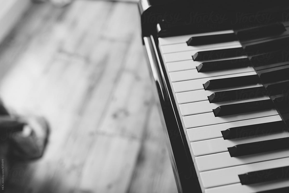 Black And White Piano Instrument Background By Mattia Stocksy United
