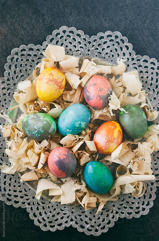 Easter: Colorful Easter Eggs On A Fancy Metal Platter by Sean Locke for Stocksy United
