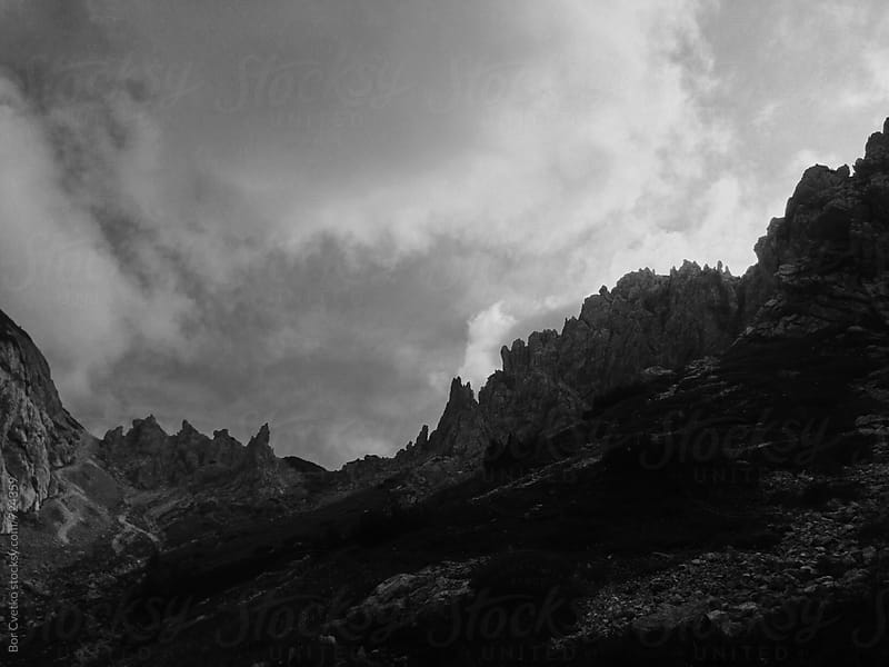 Pointy black and white mountain by Bor Cvetko for Stocksy United