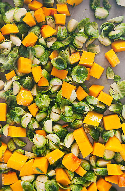 Polenta: Butternut Squash And Brussels Sprouts Ready For Roasting by Sean Locke for Stocksy United