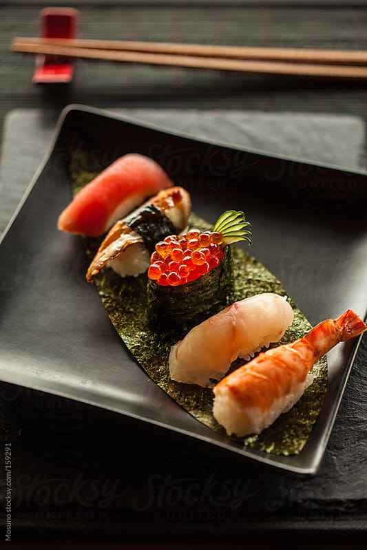 Seafood Sushi on a Plate by Mosuno for Stocksy United