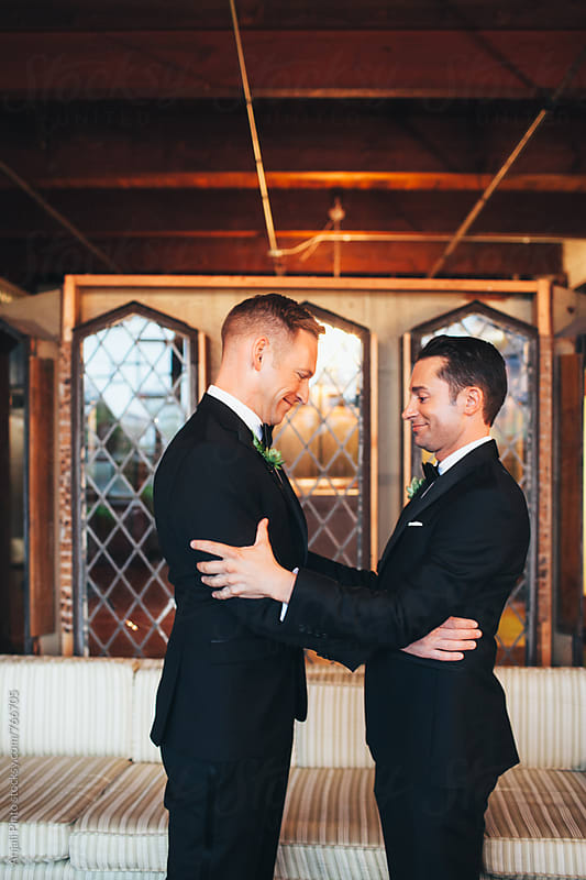 Two Grooms, Gay Wedding First look by Anjali Pinto for Stocksy United