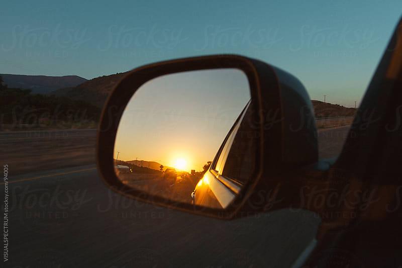 Sunset in Rear Mirror by Julien L. Balmer for Stocksy United