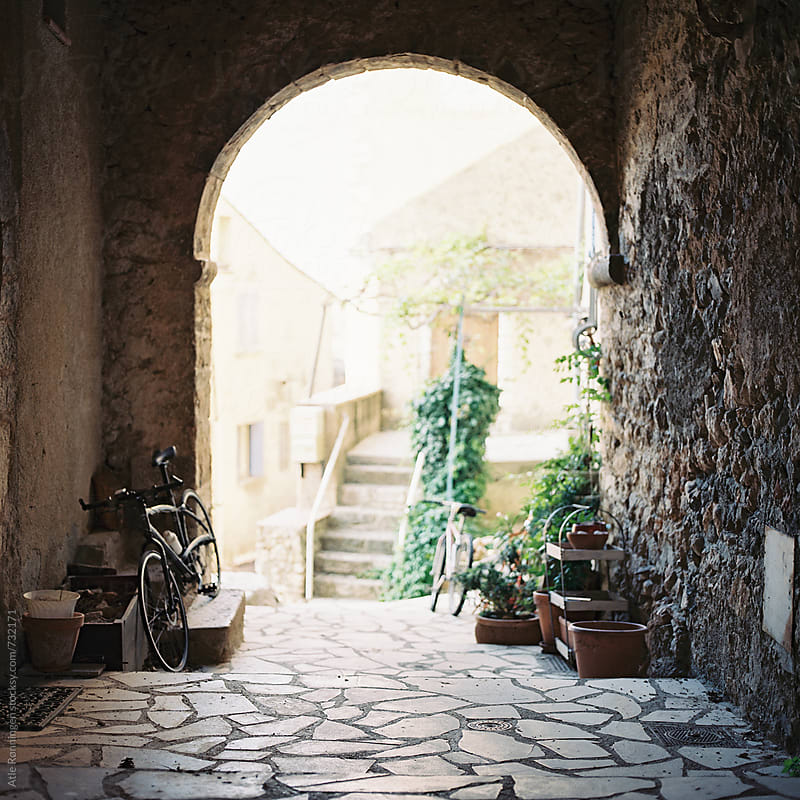 View from an entryway in Moissac-Bellevue, Provence, France by Atle Rønningen for Stocksy United