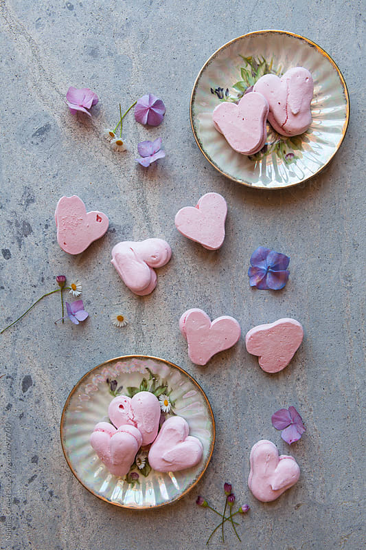 Pink Pretty Heart Meringues by Nadine Greeff for Stocksy United
