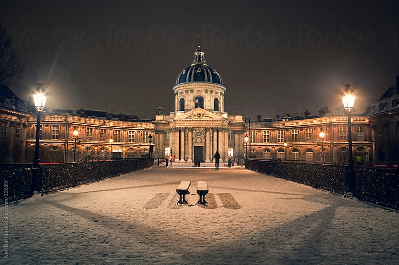 Institut de France on a winter night by Ivan Bastien for Stocksy United