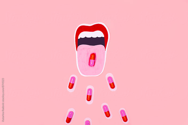 Red Pills Coming Out of The Opend Mouth by Katarina Radovic for Stocksy United